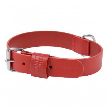 collier chien cuir rouge